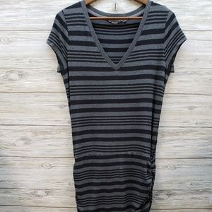 Athleta Gray Black Striped Dress